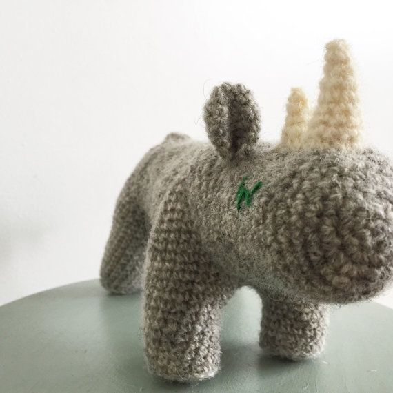 Nosy Rhino  soft and cuddely handmade toy  by creaturesofyarn