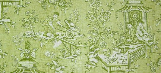 Chatelet Toile Fabric Toile de jouy fabric in green and apple printed on cream cloth