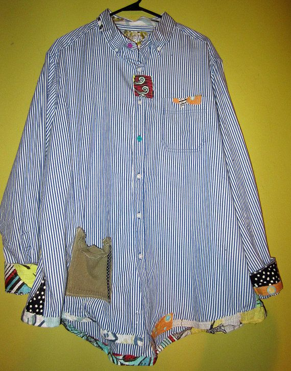 recycled bLUE pIN sTRIPED Cotton Boyfriend Shirt by monapaints, $149.00