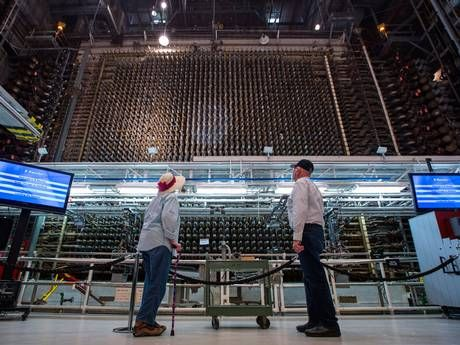 Visitors look at the core of Hanford's historic B Reactor, the world's first, full-scale nuclear reactor, on the Hanford Site in Washington