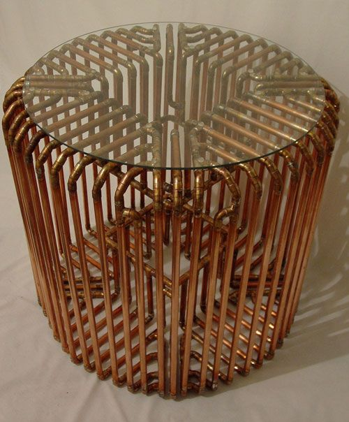 Brooklyn-based artist/designer TJ Volonis makes the most amazing sculptures and furniture out of copper tubing. The patterns and dimension created are complex mazes of lines and curves that join together to make the most intricate pieces.: Artists Design, Copper Pipes Furniture, Spectacular Furniture, Sculpture Copper, Copper Tube, Tj Voloni, Make Furniture, Round Tables, Tube Tables