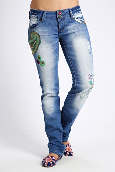 Embroidered Denim Jeans @ Everything5pounds.com
