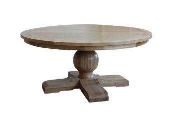 Round Oak Pedestal Dining Table-Lavender Hill Interiors