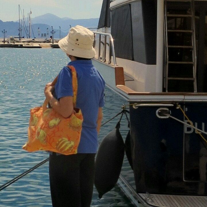 Visiting Aegina harbour with a classy tote bag