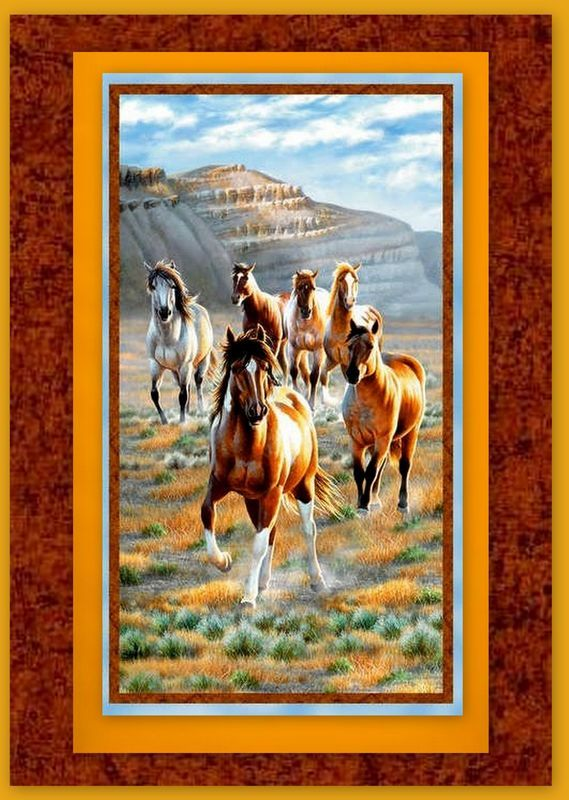 Easy Fabric Panel Quilt Kit Unbridled Wild Horse Mountains