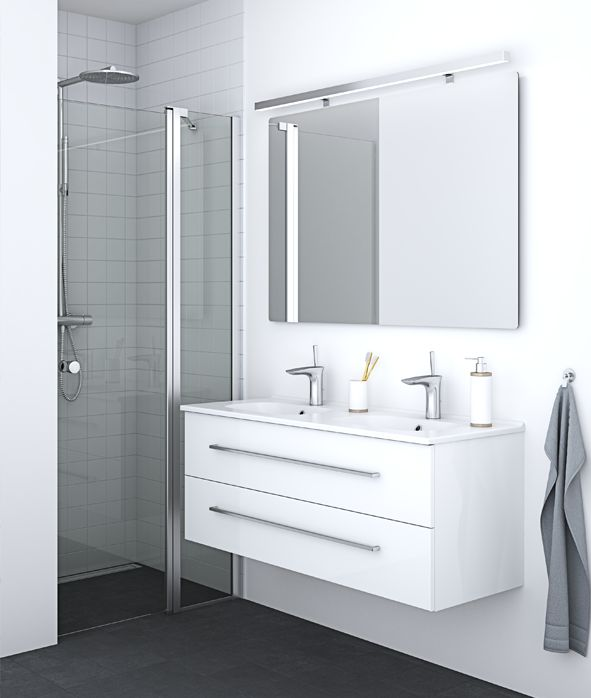 Smart solution that enables you to place furniture close to the shower door, thereby maximising the space at hand.