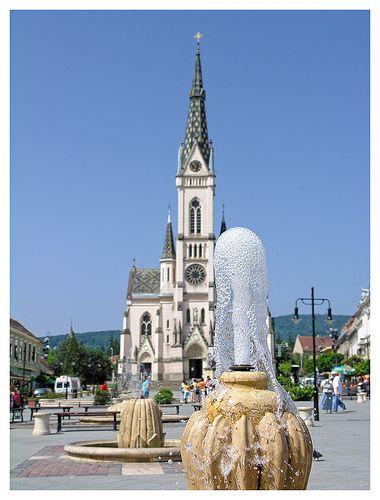Sacred Heart Church an the fountain - Kőszeg, Hungary
