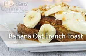 7日目 朝食:バナナオートフレンチトースト  材料(6枚分) 豆乳 1カップ、 オートミール 1/4カップ、 バナナ 中1本、 全粒粉パン 6枚、 植物油スプレー