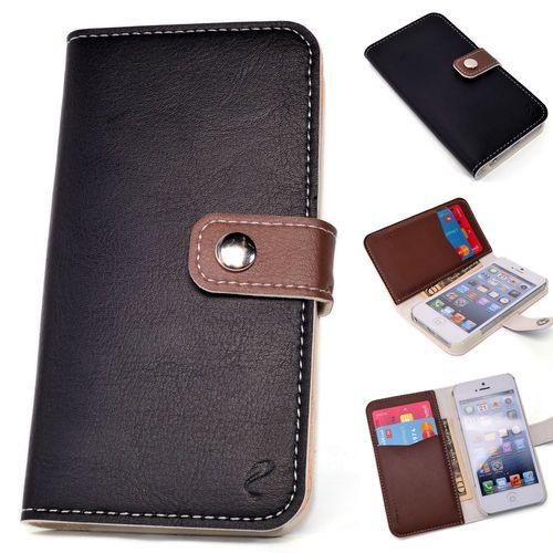 Leder Schwarz Etui Hülle Schutz Schutzhülle Schale Flip Tasche Apple Iphone 5   eBay