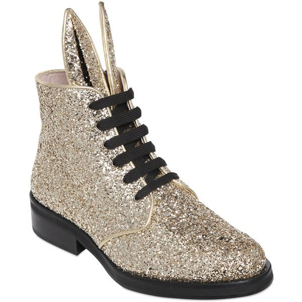 Minna Parikka Women 30mm Bunny Glitter Boots ($530) ❤ liked on Polyvore featuring shoes, boots, gold, metallic shoes, metallic leather shoes, genuine leather shoes, real leather boots and glitter shoes