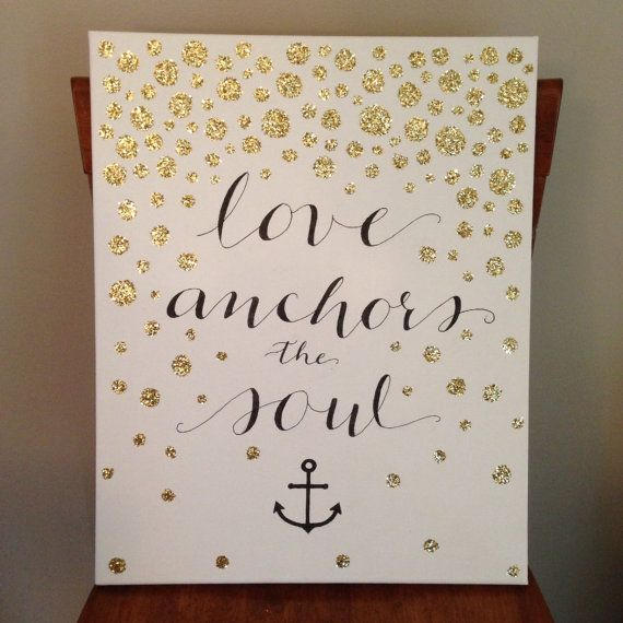 Custom Hand Lettered Ombre Glitter Canvas by AETLetteringShop