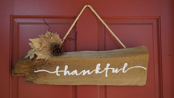 Rustic Thankful holiday sign- reclaimed barnwood- hand lettered