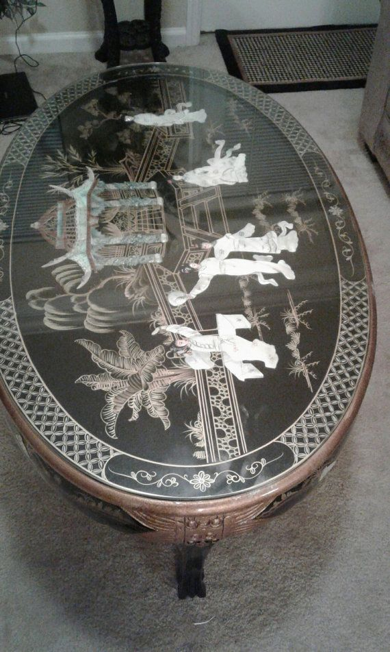 BLACK LACQUER Vintage Asian Coffee Table by fabandaffordable