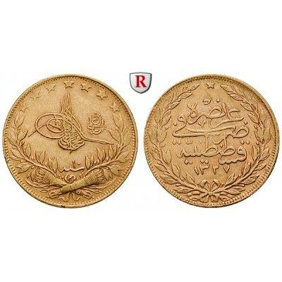 Osmanisches Reich, Mohammed V., 100 Piaster 1917, 6,62 g fein, ss: Mohammed V. 1909-1918. 100 Piaster 6,62 g fein, 1917… #coins