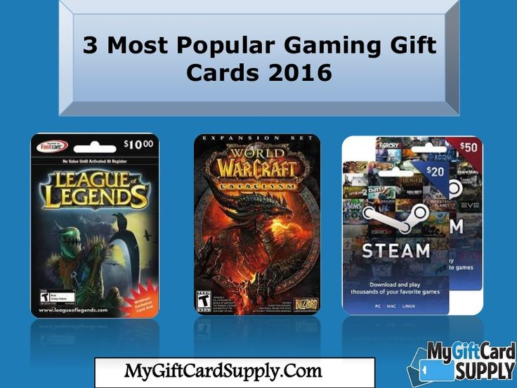 Here you will get 3 Most Popular Gaming Gift Cards 2016 and that has good reviews.