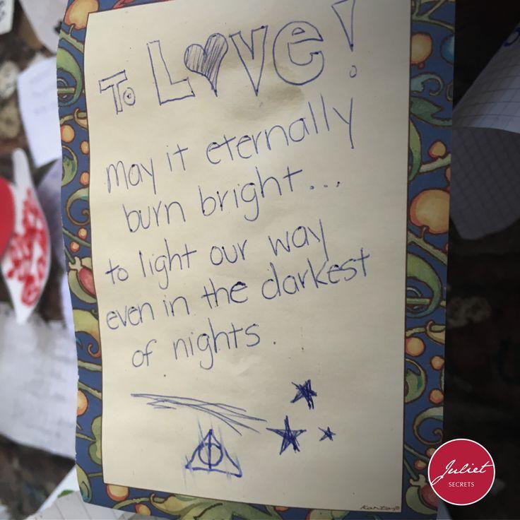 To Love. May it eternally burn bright… tolight our way even in the darkest of nights. #julietsecrets #julietwall #casadigiulietta #juliethouse @julietsecrets