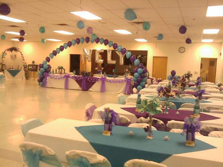Party hall decoration with balloons decoration in for Balloon decoration for quinceanera
