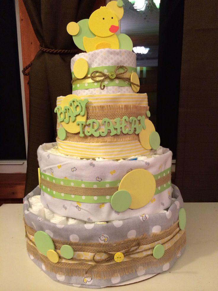 Gender neutral diaper cake baby shower pinterest for Baby diaper cake decoration