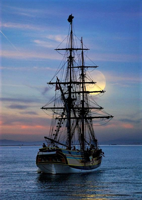 "Tall Ship ""Lady Washington"" at Sunset."