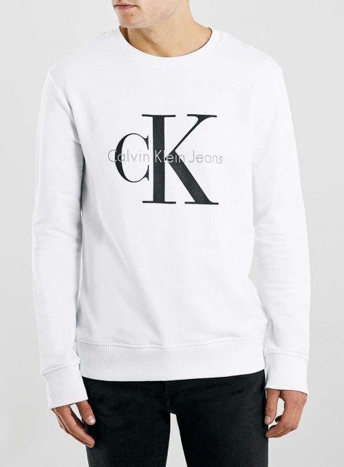 Topman+Men's+Calvin+Klein+White+Sweatshirt+|+Activewear,+Pullovers,+Sweater+and+Clothing