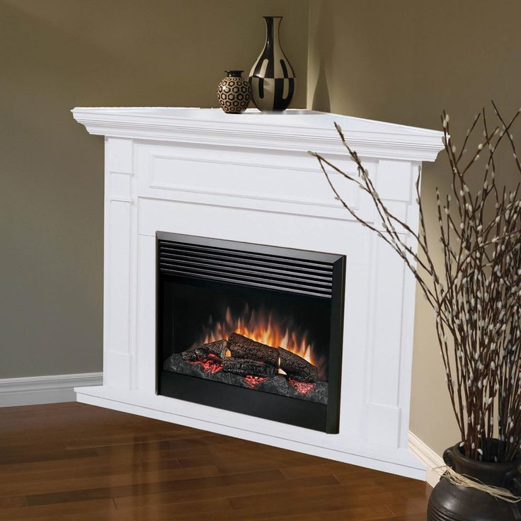Perfect Dimplex Baxter Corner Electric Fireplace   White   Especially Convenient  For Smaller Rooms, The Baxter White Corner Electric Fireplace Features An  ...