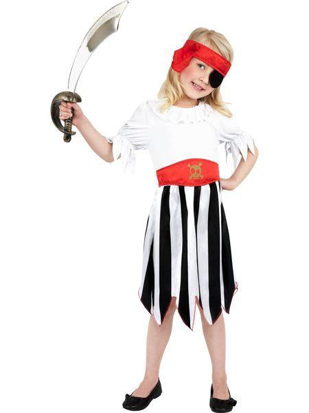 Lasten naamiaisasu; Piraattityttö Tämä on näyttävä naamiaisasu seikkailuja kaipaavalle merirosvohenkiselle pikku neidille! Sisältää: - mekko - päähuivi