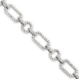Sterling Silver CZ Link Bracelet - 7.25 Inch - Box Clasp - JewelryWeb JewelryWeb. $172.10