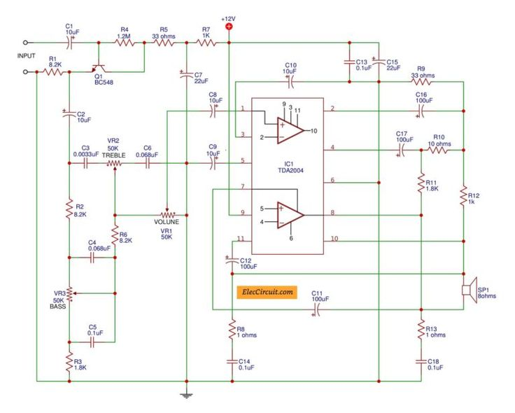 TDA2004 - TDA2005 subwoofer Bridge Amplifier circuit ...