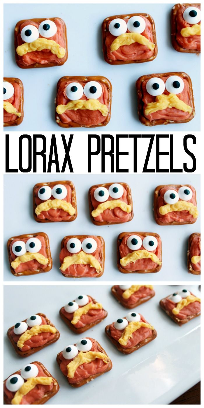 Dr. Seuss Lorax Pretzels - an easy recipe to celebrate Read Across America Day!