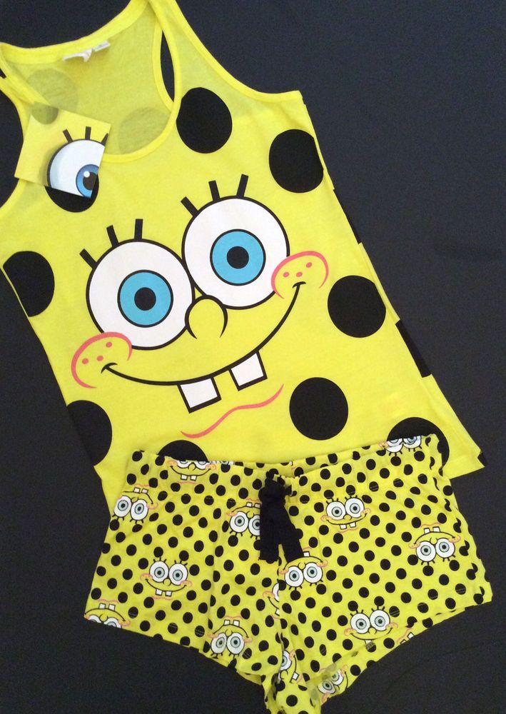 PRIMARK Official Ladies SPONGEBOB SQUAREPANTS Vest & Shorts Pyjama Set PJ s