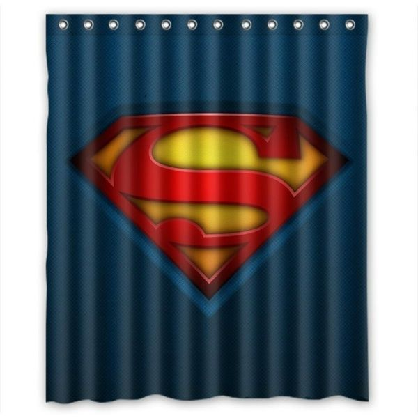 Comic Hero Superman Waterproof Shower Curtain Superman Room