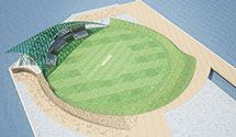 Architecture stadium, Cricket. Designed by Ministry of Architecture + Interiors.