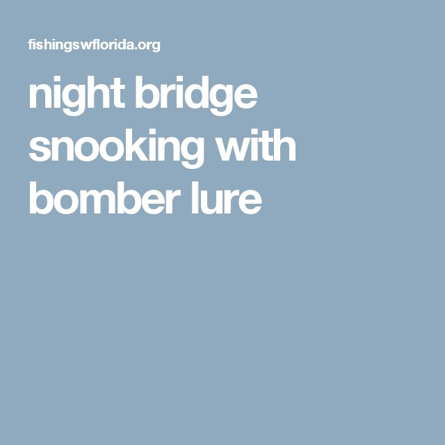 night bridge snooking with bomber lure