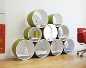Shelf Set 9 tubes 21 pieces - wood white / wool felt maygreen + Lighting, Shelving System Flexi Tube