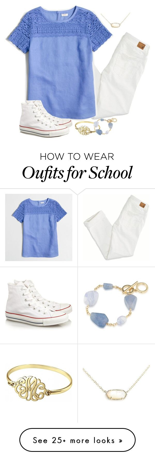 Day Two: Last Day of School by isabelrohrer on Polyvore featuring American Eagle Outfitters, J.Crew, Converse, Kendra Scott, Alison Ivy, Carolee and schoolsoutmadiandashe