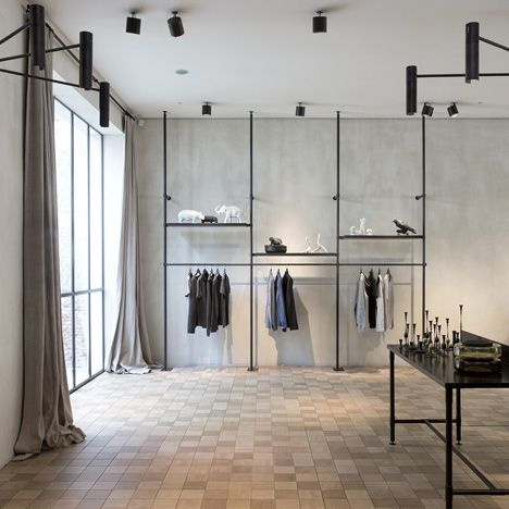 Inset and above: Tiles from the Mosa Scenes collection.....metal pipe wardrobe hanging system