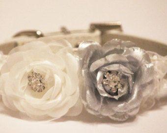 Plata blanco boda Floral collares, flores blancas de plata con diamantes de imitación, Collar de perro de cuero de alta calidad