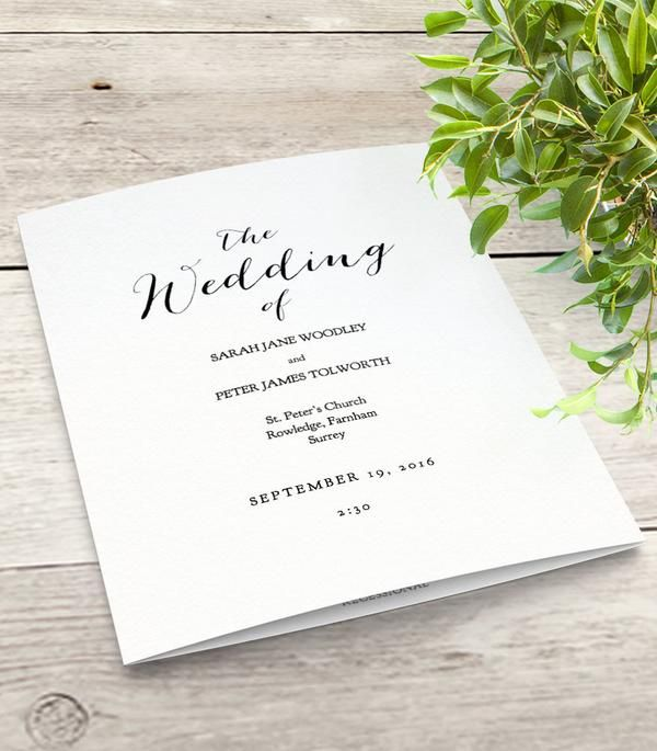 Mr & Mrs printable Wedding Order of Service program template. Folded wedding program template. Download, edit print and trim! Modern script design.