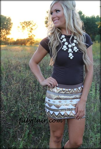 All in Sequins Mini Skirt in BRONZE... not a huge fan of the necklace, but love the rest.