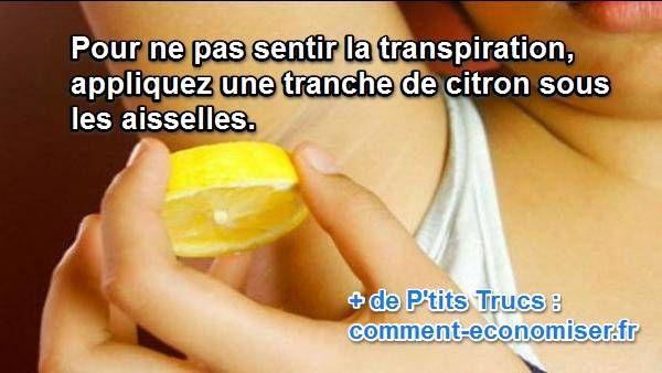 Nous sommes nombreux à chercher des alternatives naturelles qui n'ont pas d'effets néfastes sur notre peau et qui sont souvent beaucoup moins chères ! Heureusement, nous avons découvert un déodorant naturel et efficace : une tranche de citron appliquée sur les aisselles.  Découvrez l'astuce ici : http://www.comment-economiser.fr/deodorant-naturel-efficace-et-fait-maison.html?utm_content=buffer74629&utm_medium=social&utm_source=pinterest.com&utm_campaign=buffer