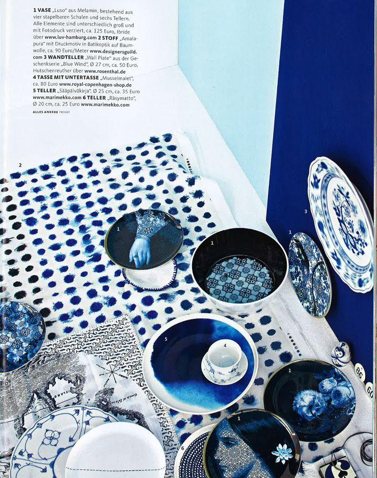 Designers Guild Amlapura indigo fabric as seen in Germany Schoner Wohnen