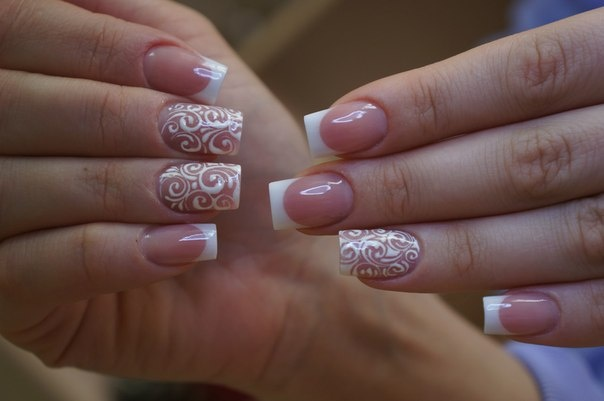 Wedding Nails White Tip French Manicure White Swirl Free Hand Nail Art Decals