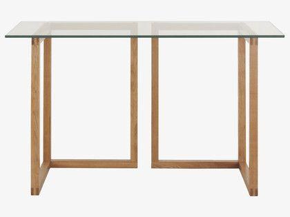 KUSA NATURAL Wood Small glass and oak trestle desk - HabitatUK