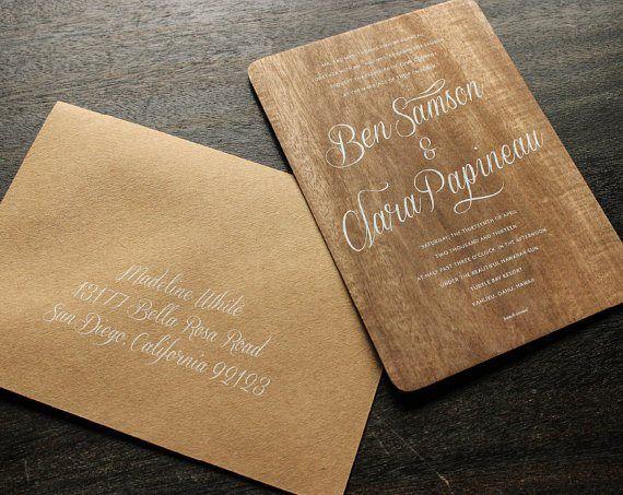 Invitaciones en madera | http://boda20.com/2014/01/08/bodas-con-un-toque-de-madera/