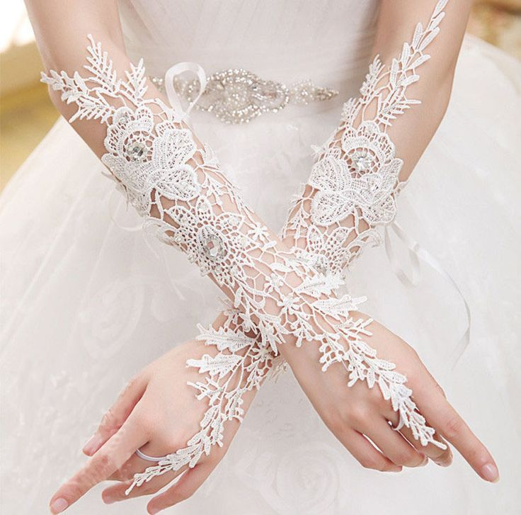 Fingerless Long Bridal Gloves Wedding Wear Beads Luxury Lace Flower Glove Hollow…