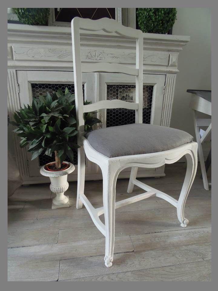 6 chaises atelierdes4saisons en merisier patin e gris perle blanc poudr tapiss es de tissus. Black Bedroom Furniture Sets. Home Design Ideas