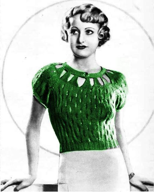 1930s Vintage PDF Crochet/Knit Pattern Eyelet collar sweater. $3.00, via Etsy.