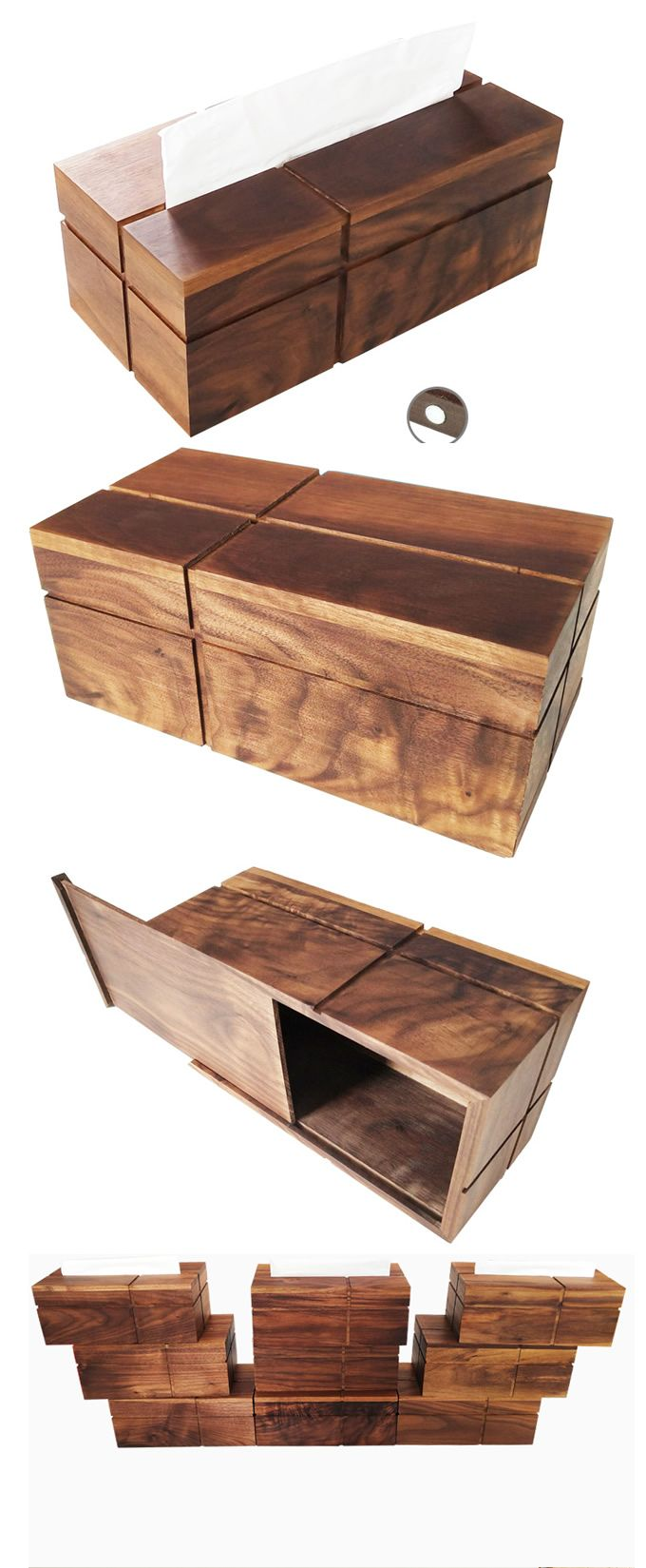 Black Walnut Bamboo Wooden Tissue Box Cover Holder Office Desk Organizer Storage To Your Supplies