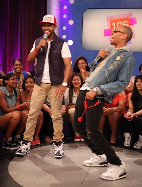 """Terrence J in the Air Jordan 6 """"Olympic"""" & Chris Brown in the Air Jordan 3 White/Cement"""