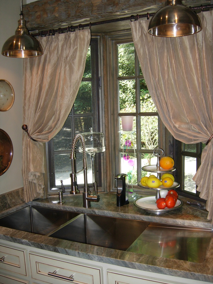 Curtains Straight Across A Bay Window Galley Kitchens